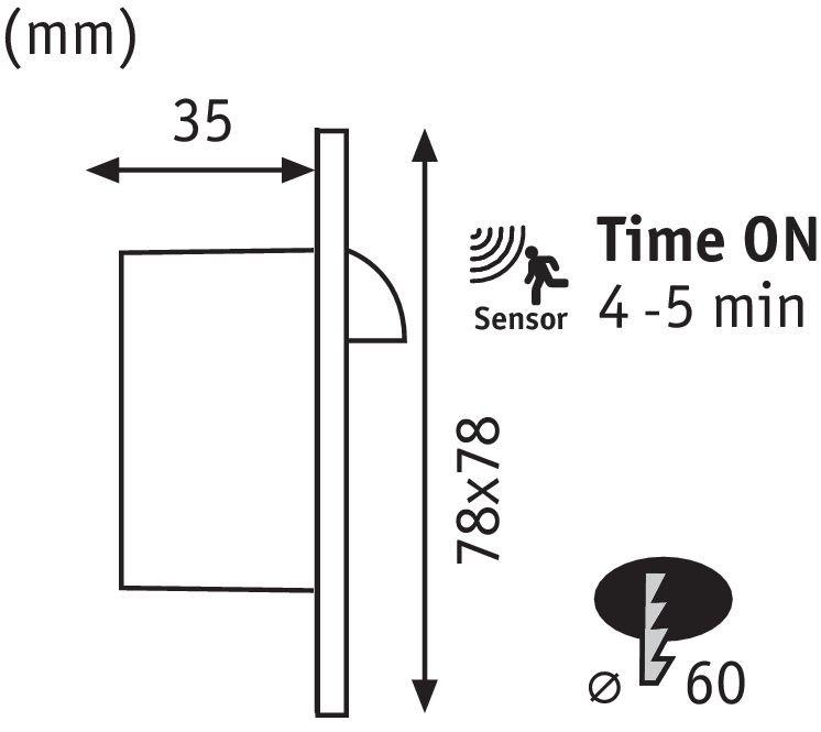 LED Wandeinbauleuchte Wall eckig 78mm 1,1W 107lm 230V 2700K Weiß