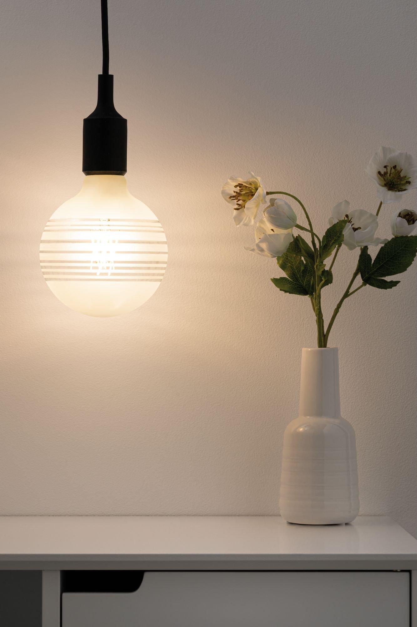 Modern Classic Edition LED Globe Ringspiegel längst liniert E27 230V 470lm 4,5W 2600K Ringspiegel weiß