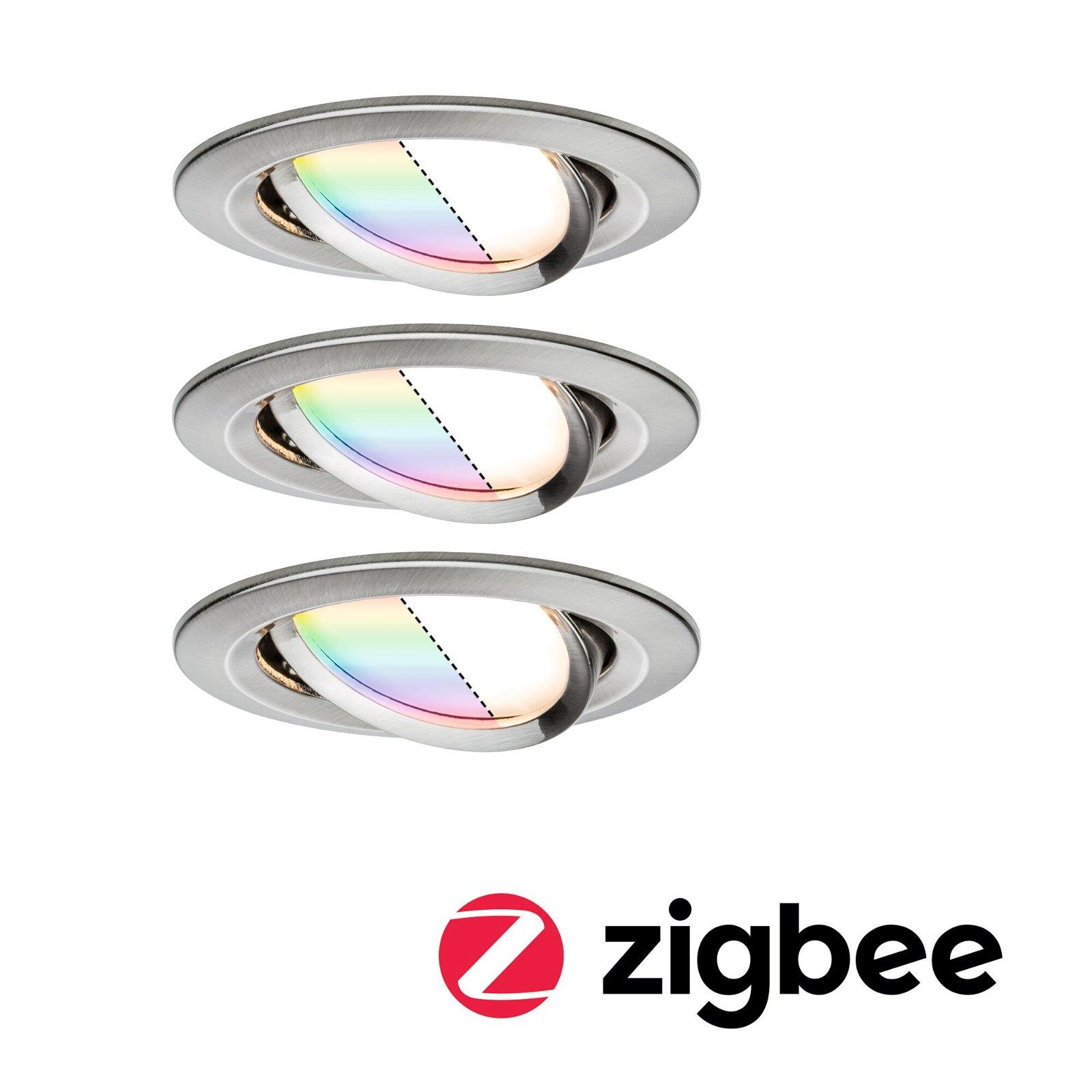LED Einbauleuchte Smart Home Zigbee Nova Plus Coin Basisset schwenkbar rund 84mm 50° Coin 3x2,5W 3x85lm 230V RGBW Eisen gebürstet