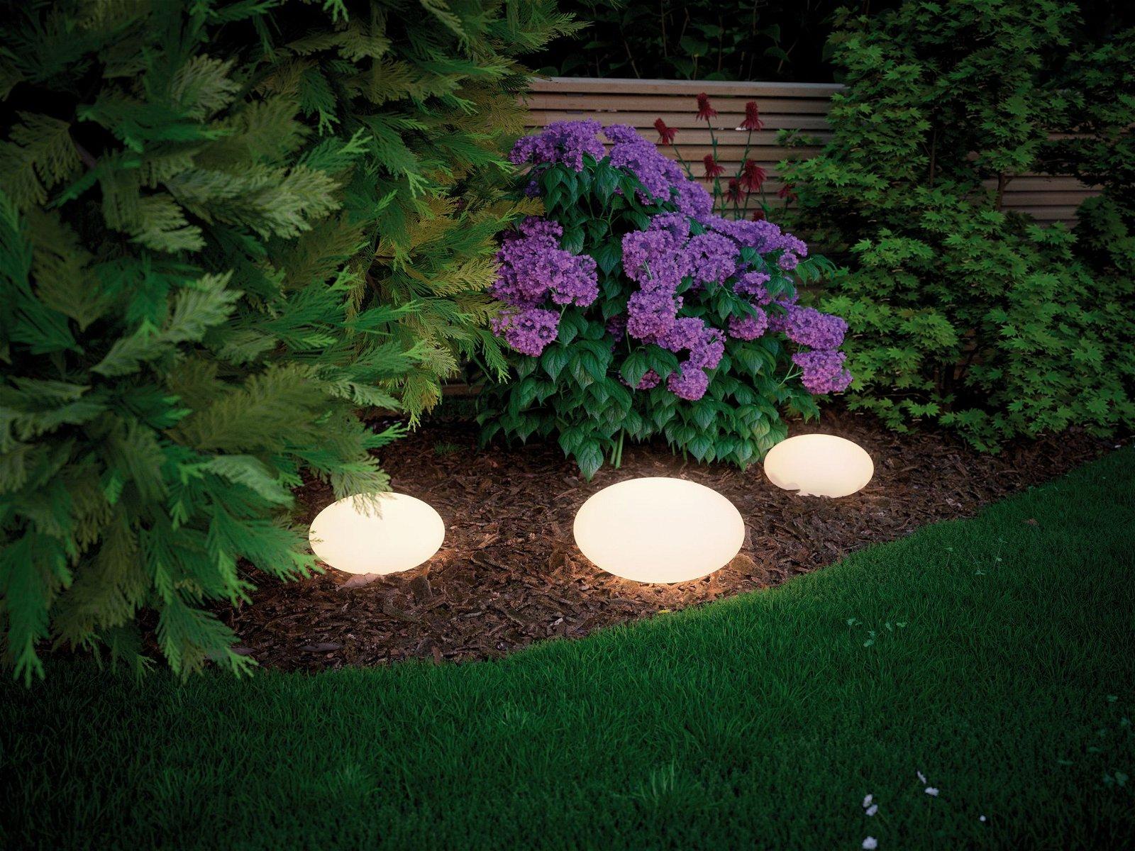 Plug & Shine Objet lumineux LED Stone 280mm IP67 3000K 2,8W Blanc