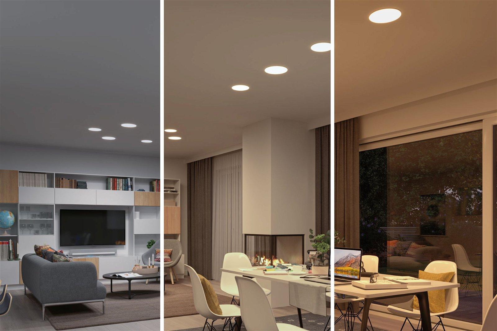 VariFit LED Einbaupanel Veluna IP44 IP44 rund 215mm 1900lm White Switch Transparent