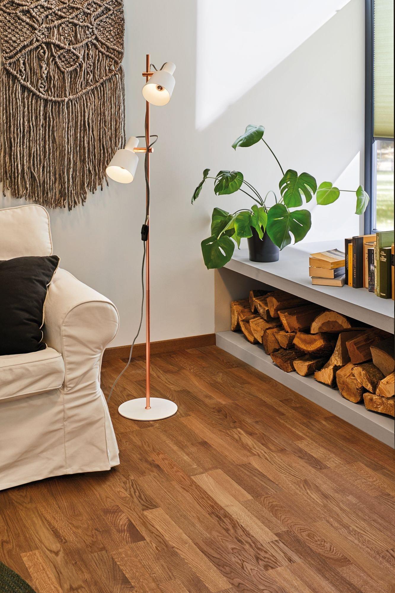 Neordic Floor luminaire Haldar E14 max. 2x20W White/Matt copper Metal