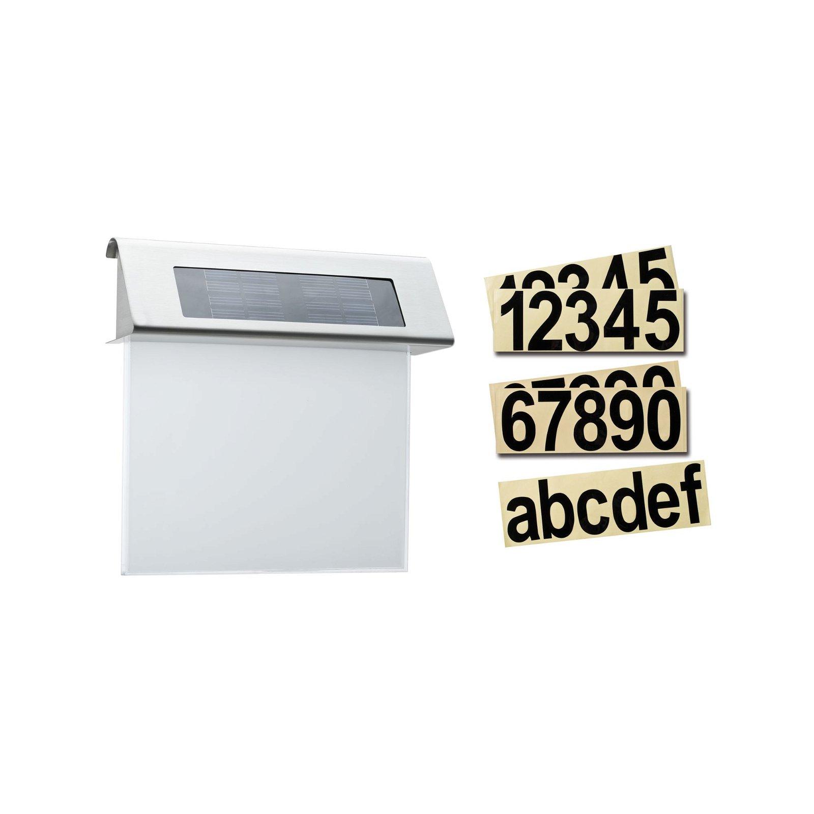 Solar LED Hausnummernleuchte Special Line IP44 3000K Edelstahl/Weiß