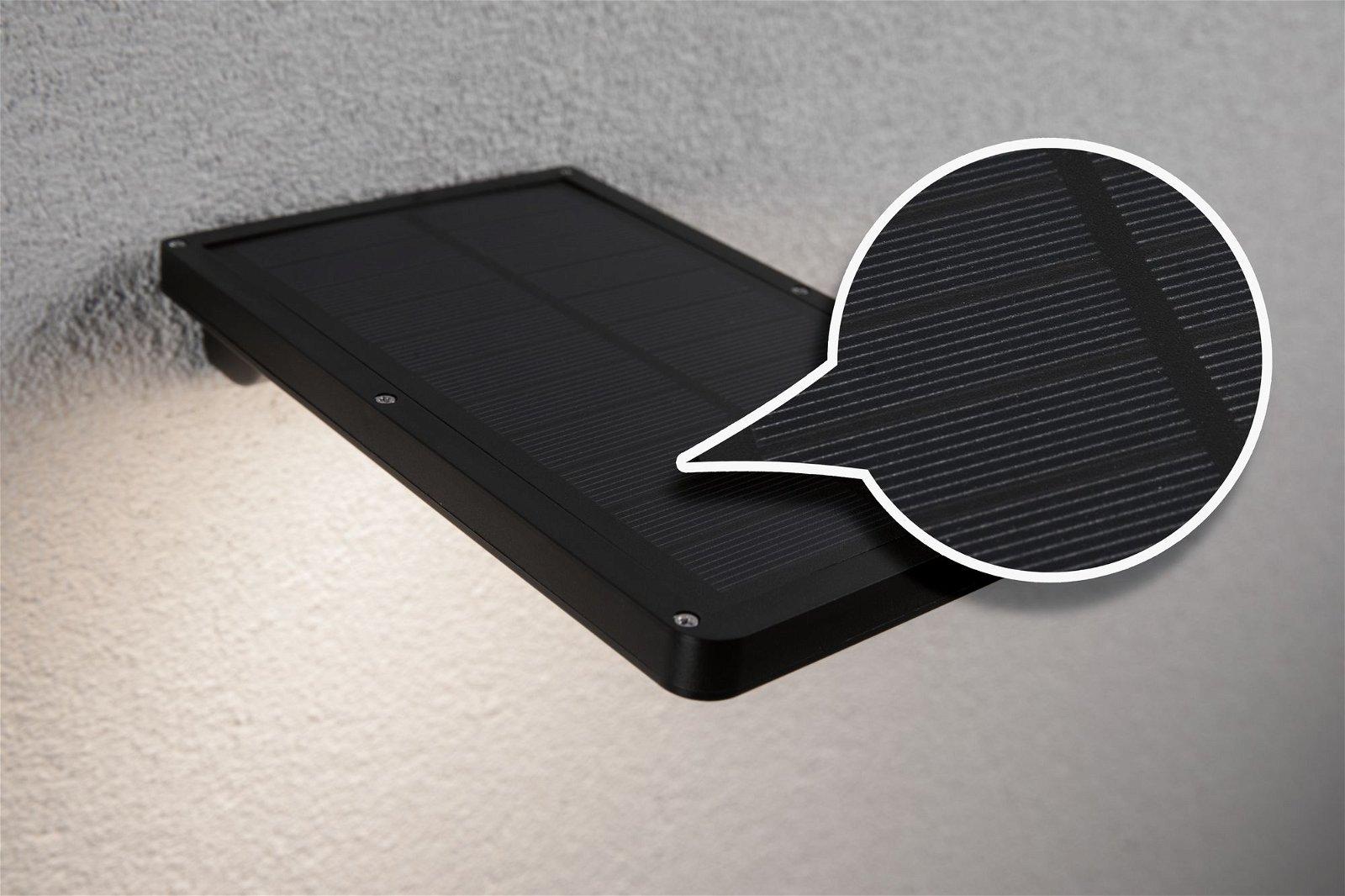 Solar LED Außenwandleuchte Solar Solveig inkl. Bewegungsmelder IP44 3000K 350lm Schwarz