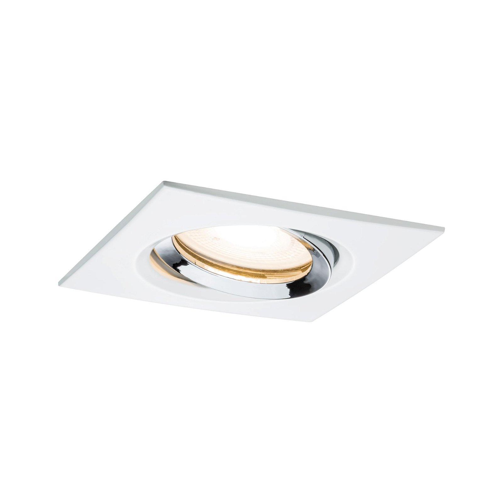 Spot encastré LED Nova Plus orientable IP65 carré 93x93mm 30° GU10 max. 35W 230V 2700K Blanc dépoli/Chrome