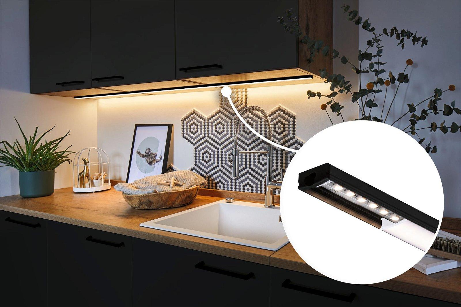 LED Strip profiel Base Witte diffusor 1m Zwart