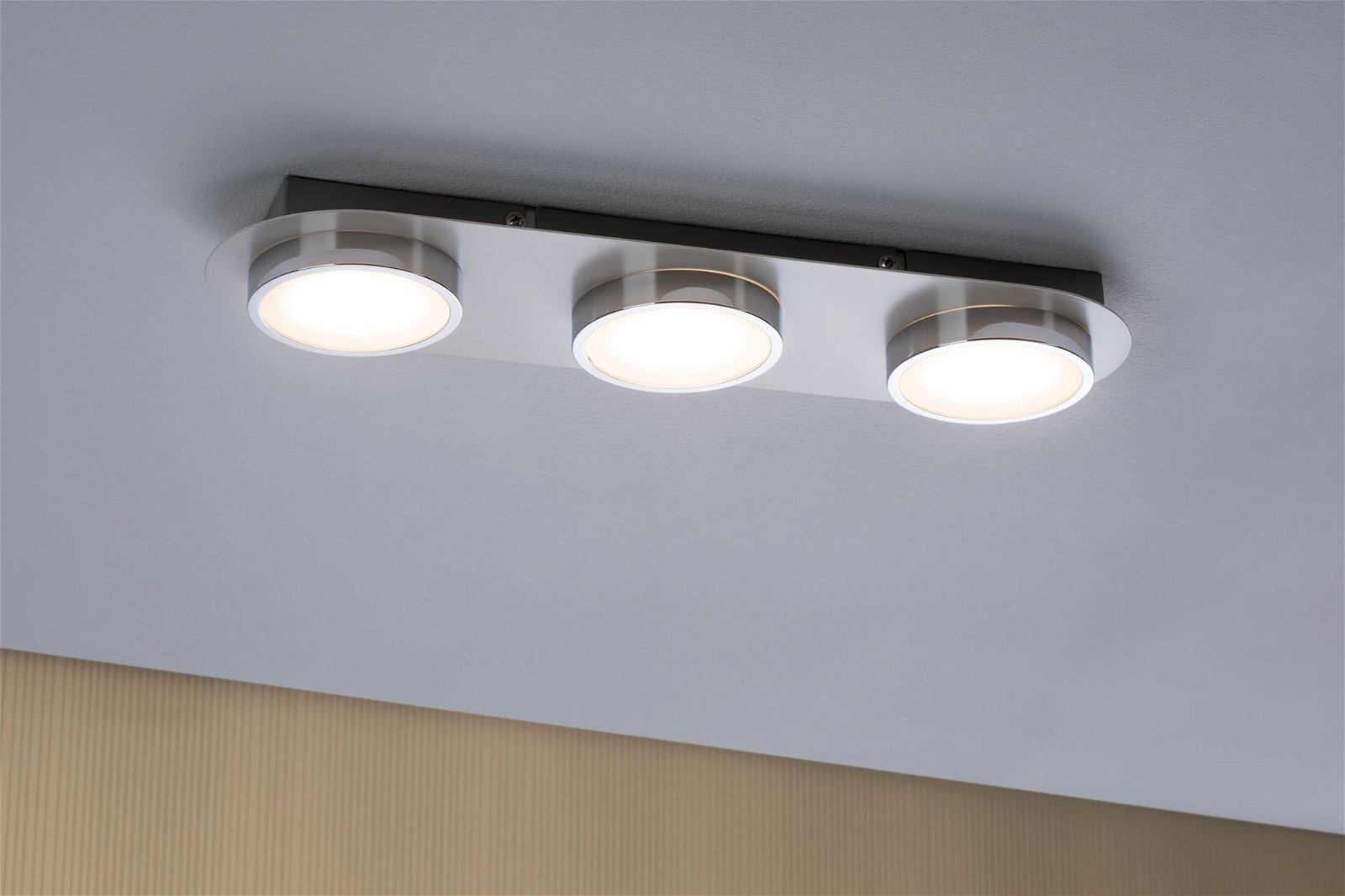 LED Deckenleuchte Liao 3000K 3x430lm 230V 3x4,7W Weiß matt/Chrom