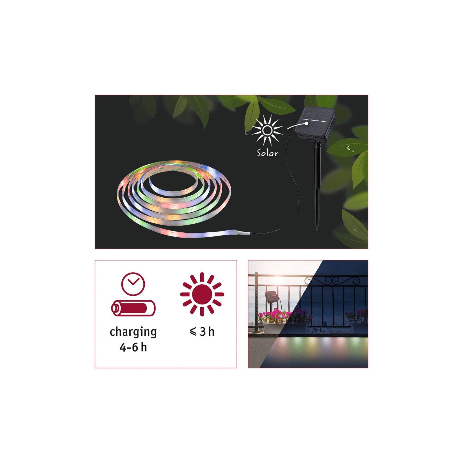 LED Stripe Solar 3m inkl. Dämmerungssensor und Akku 3m IP44 0,3W 16LEDs/m RGB