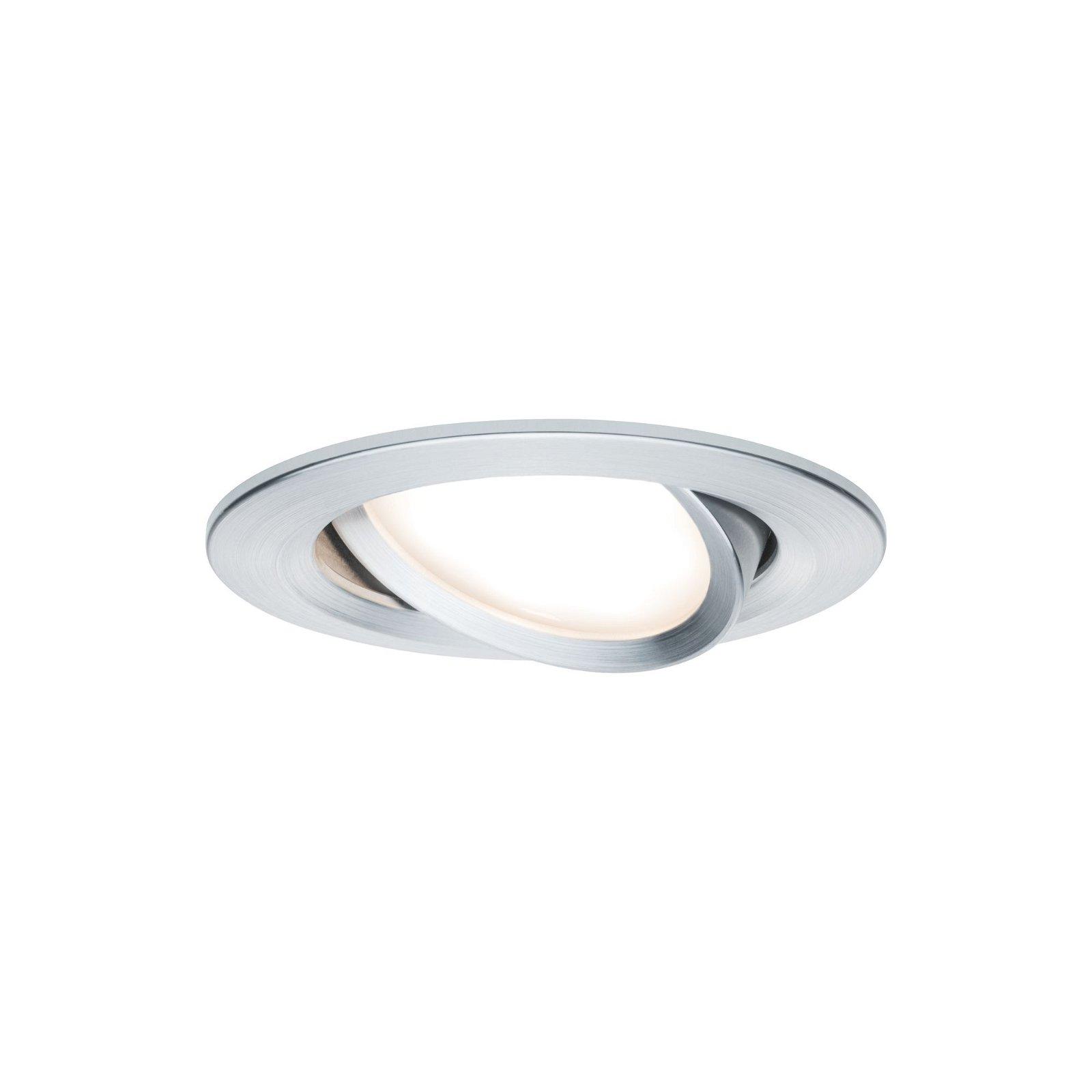 LED Einbauleuchte Nova Basisset schwenkbar rund 84mm 50° Coin 3x6,5W 3x460lm 230V 2700K Alu gedreht