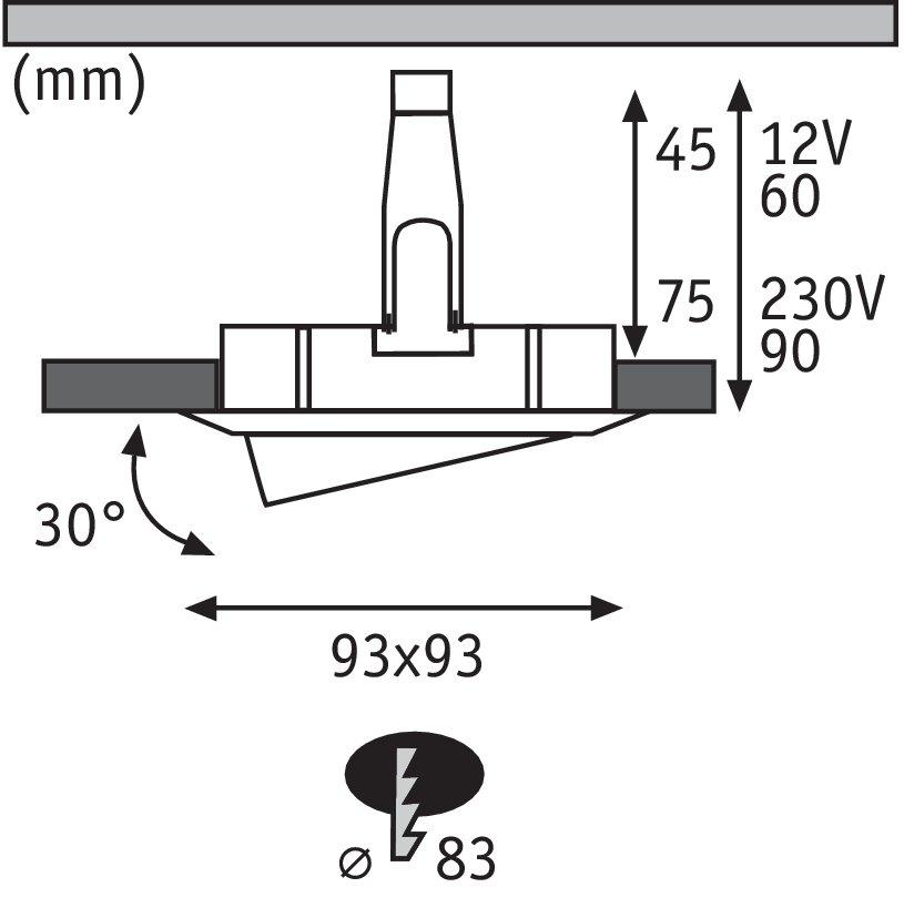 Spot encastré LED Nova Plus orientable IP65 carré 93x93mm 30° GU5,3 / GU10 max. 35W Blanc dépoli/Chrome