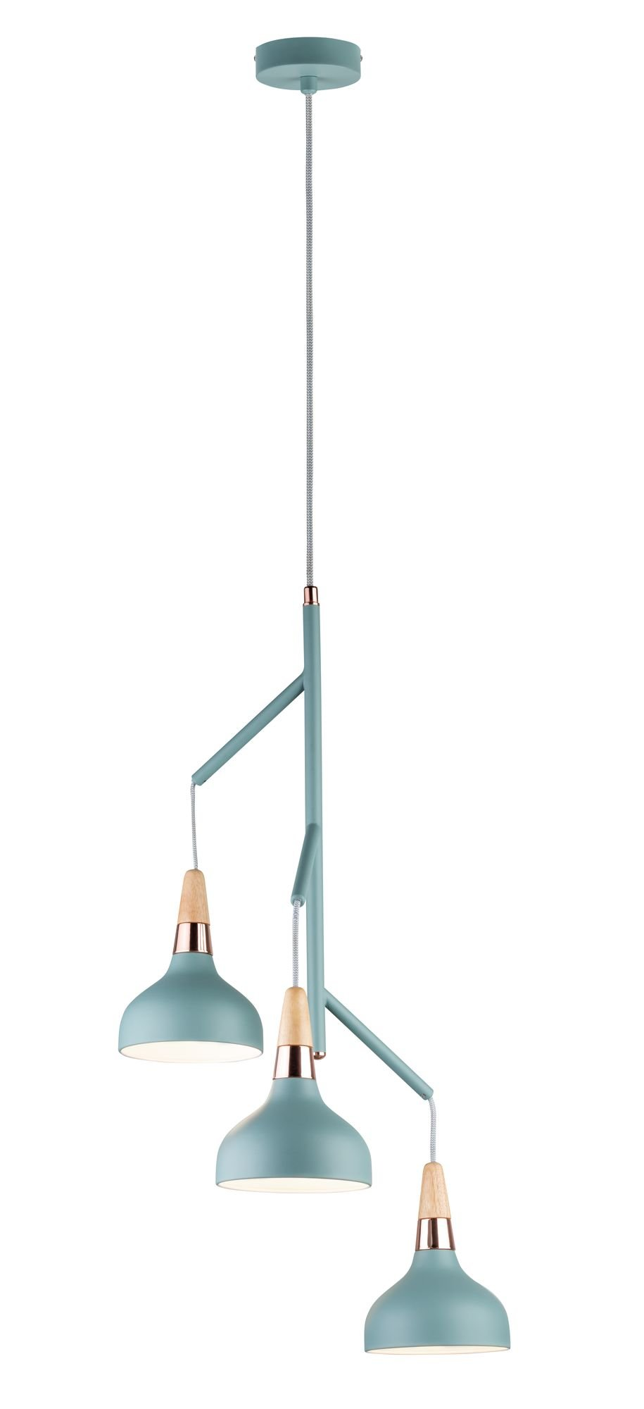 Neordic Pendelleuchte Juna E14 max. 3x20W Softgrün/Kupfer/Holz Metall/Holz