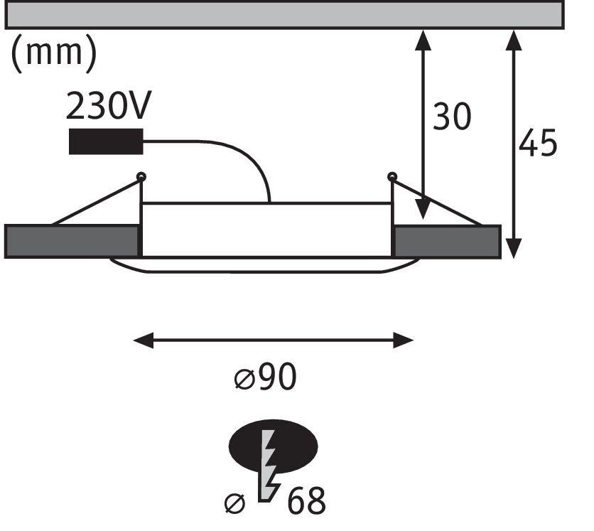 Premium Spot encastré LED Suon IP44 rond 90mm 6,5W 650lm 230V 2700K Satiné/Blanc