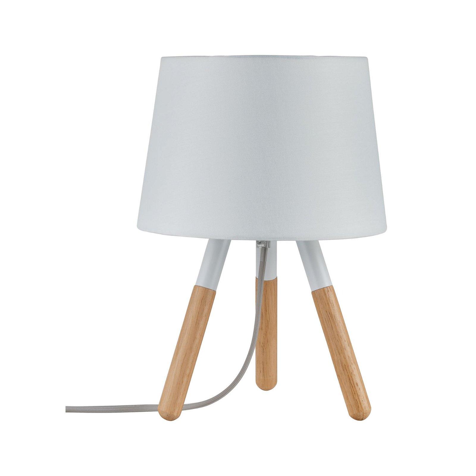 Neordic Tischleuchte Berit E27 max. 20W Weiß/Holz Stoff/Holz/Metall