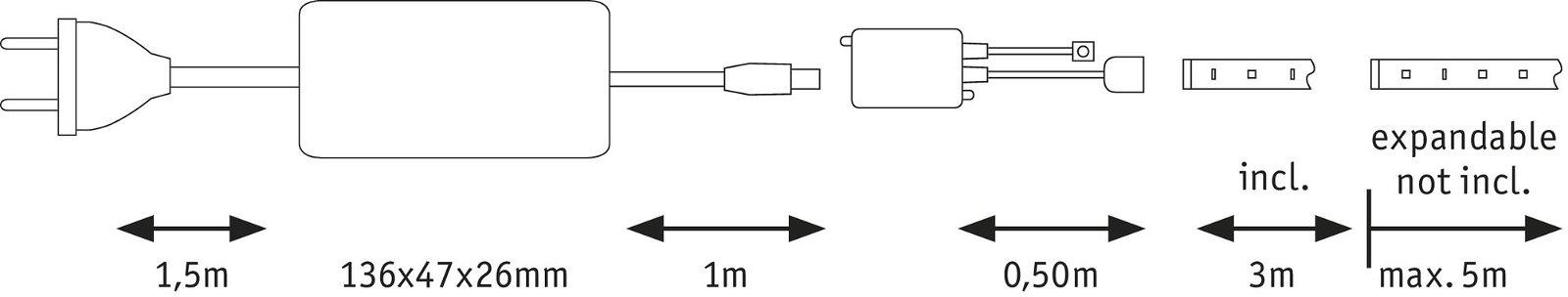 MaxLED 500 Strip LED Tunable White 3m recouvert 20W 1650lm Tunable White 36VA