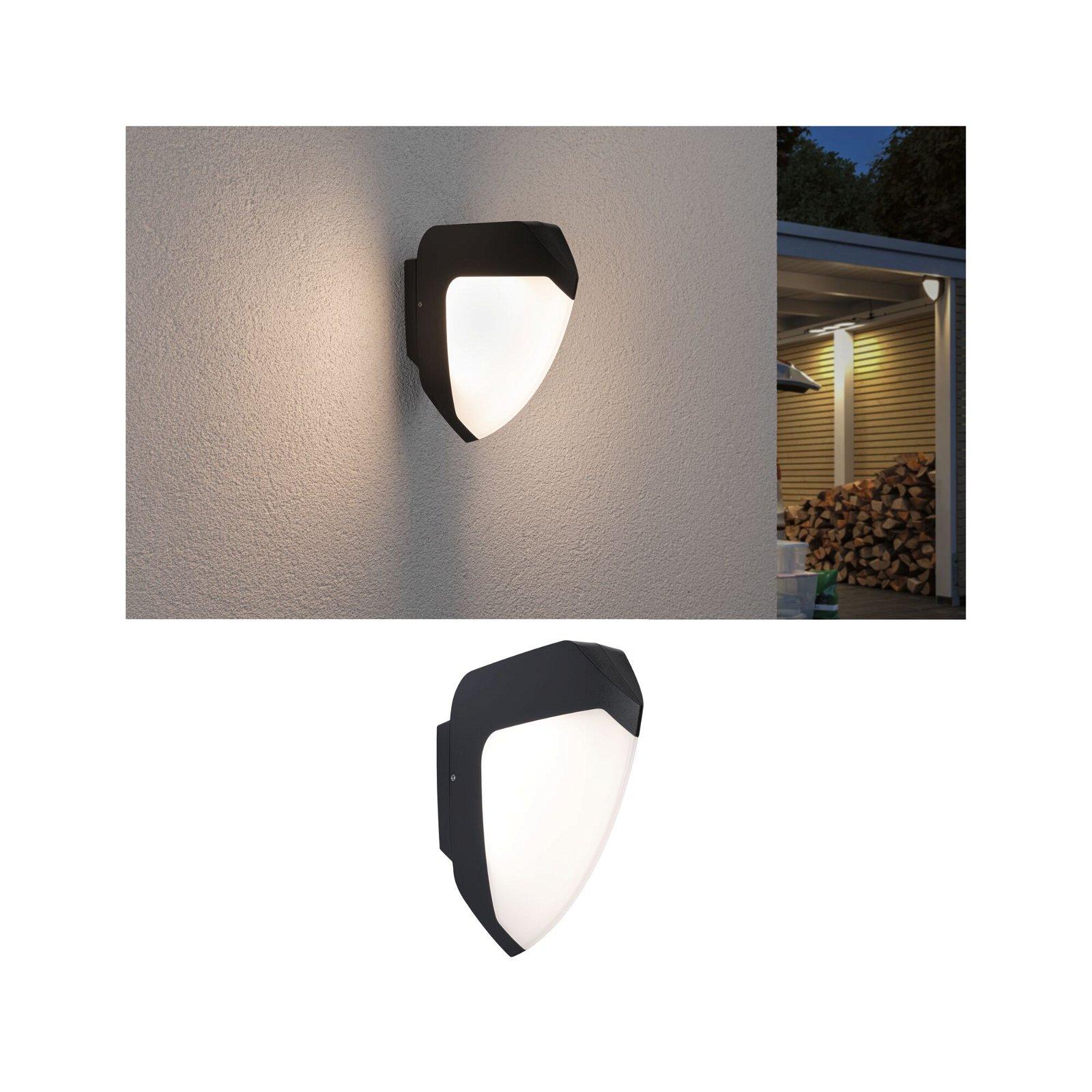LED Außenwandleuchte Smart Home Zigbee Ikosea Dämmerungssensor und Bewegungsmelder Tunable Warm IP44 50x203mm 3000K 4,4W 280lm 230V Anthrazit Kunststoff