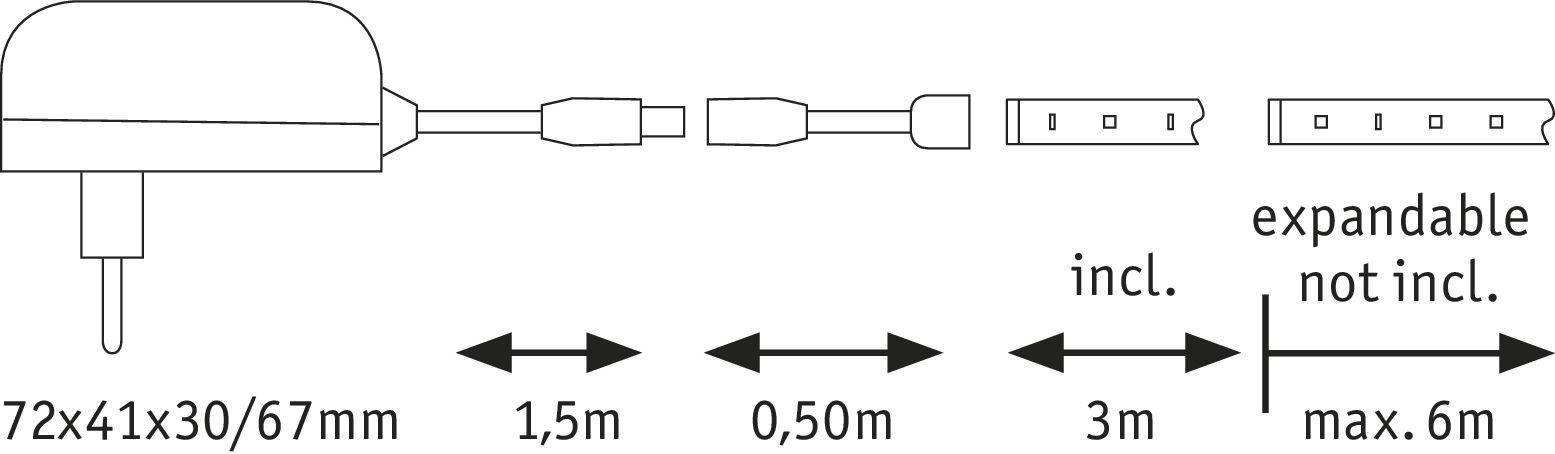 YourLED ECO LED Strip Neutralweiß Basisset 3m 6,8W 180lm/m 4000K 12VA