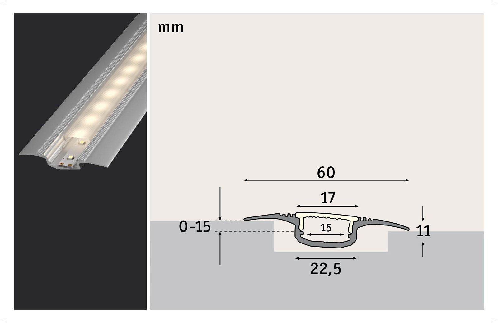 Profilé encastrable de strip LED Step 1m Alu anodisé/Satiné