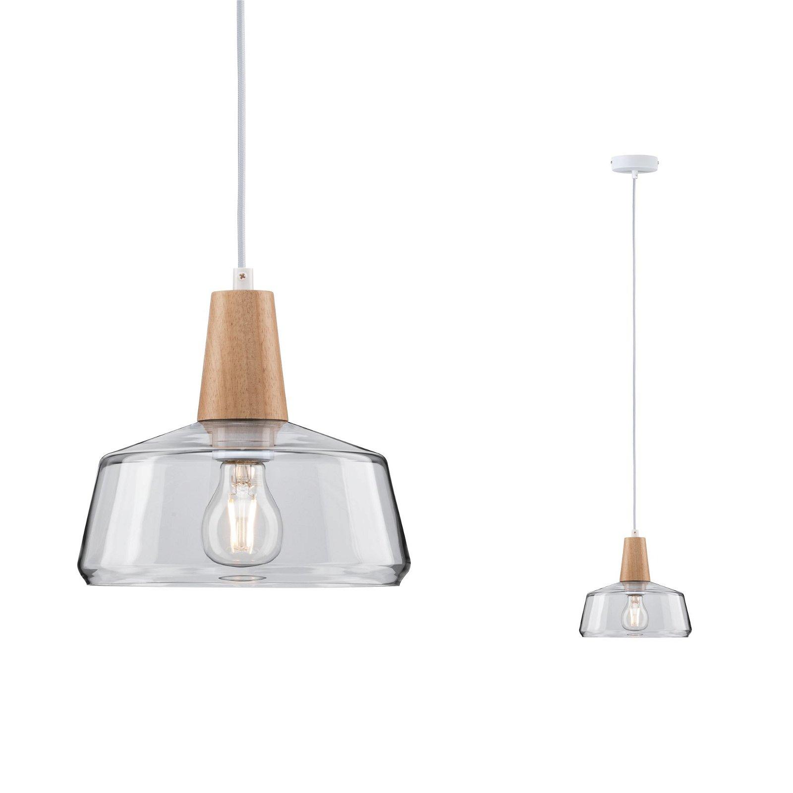 Neordic Pendelleuchte Yva E27 max. 20W Holz/Klar Holz/Glas