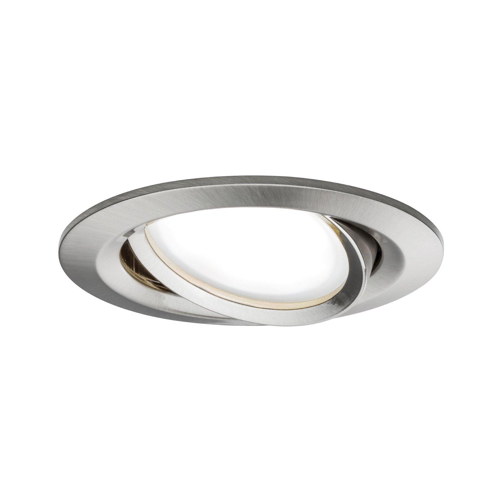 Spot encastré LED Smart Home Zigbee Nova Plus Coin Kit de base orientable rond 84mm 50° Coin 3x6W 3x470lm 230V Tunable White Acier brossé