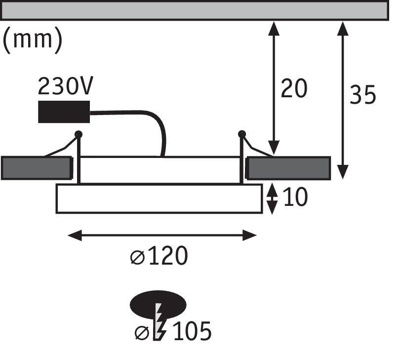 LED Einbaupanel Areo IP44 rund 120mm 830lm 3000K Nickel matt