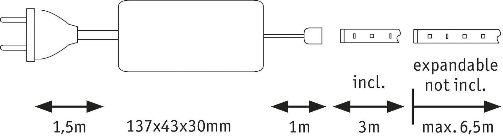 MaxLED 500 LED Strip Daglichtwit 3m gecoat 18W 1650lm 6500K 36VA