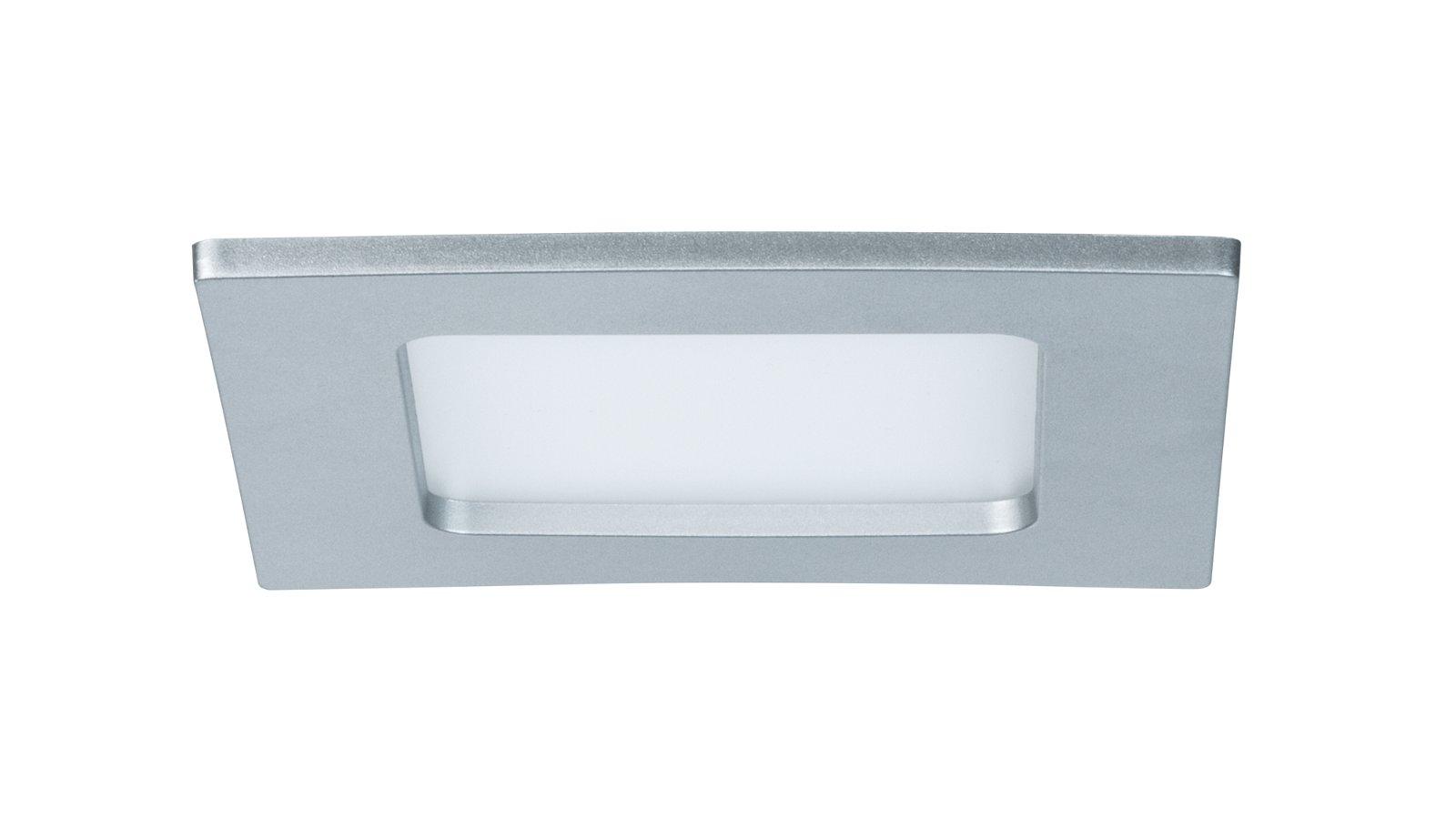 Panneau encastré LED IP44 carré 115x115mm 589lm 2700K Chrome mat