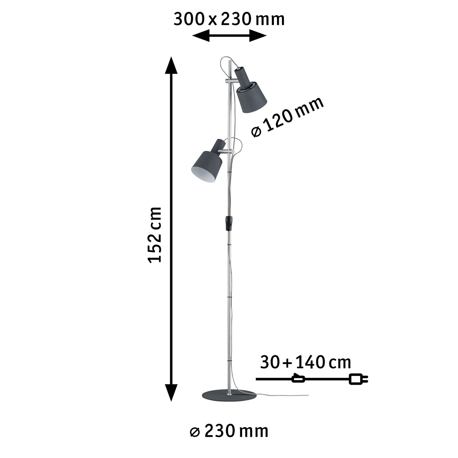 Neordic Lampadaire Haldar E14 max. 2x20W Gris foncé/Chrome mat Métal