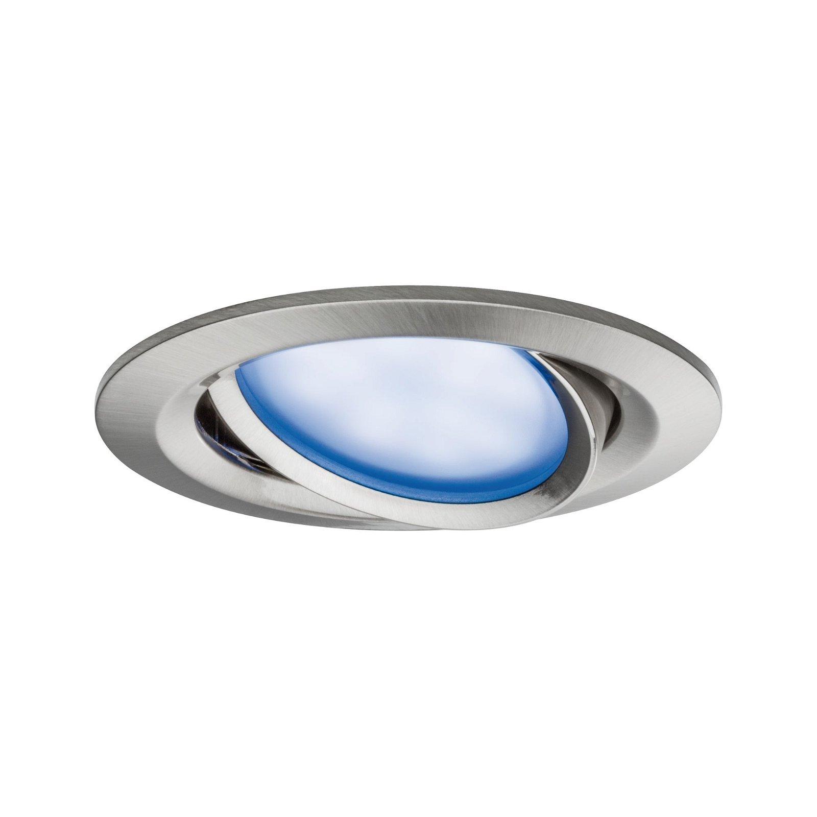 LED-inbouwlamp Nova Plus Basisset zwenkbaar rond 84mm 50° Coin 3x2,5W 3x85lm 230V RGBW Staal geborsteld