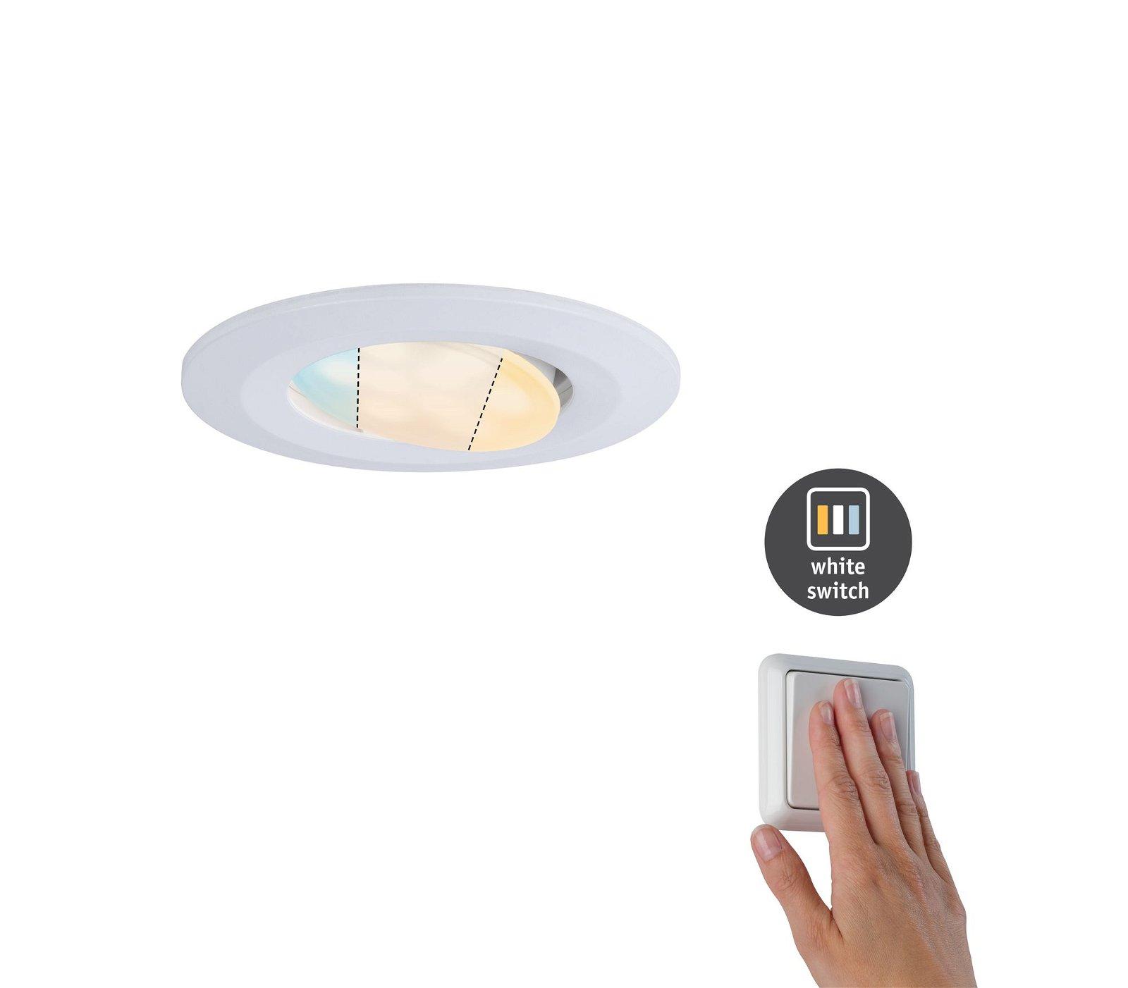 HomeSpa LED Einbauleuchte Calla Einzelleuchte schwenkbar IP65 rund 90mm 30° 5,5W 520lm 230V White Switch Weiß