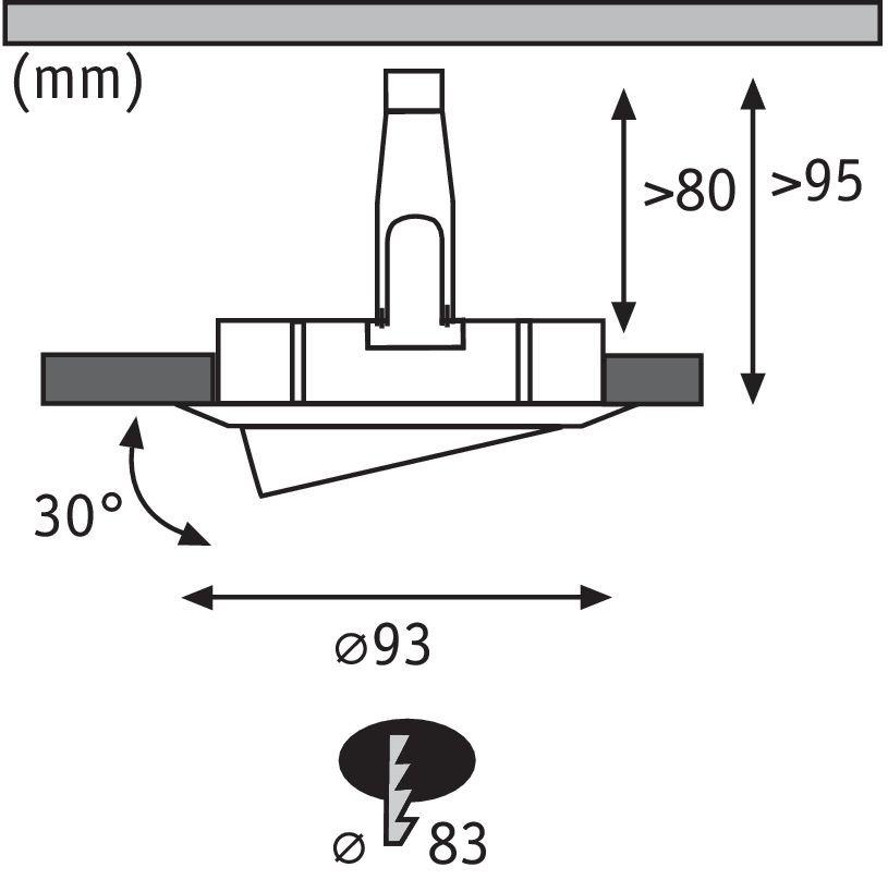 LED Einbauleuchte Nova Plus Einzelleuchte schwenkbar IP65 rund 93mm 30° GU10 6W 230V 4000K Eisen gebürstet