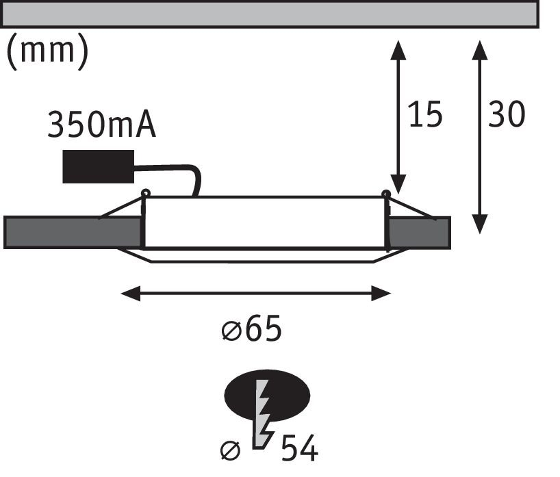 LED Recessed furniture luminaire Micro Line Single luminaire round 65mm 4,5W 305lm 230V 2700K White