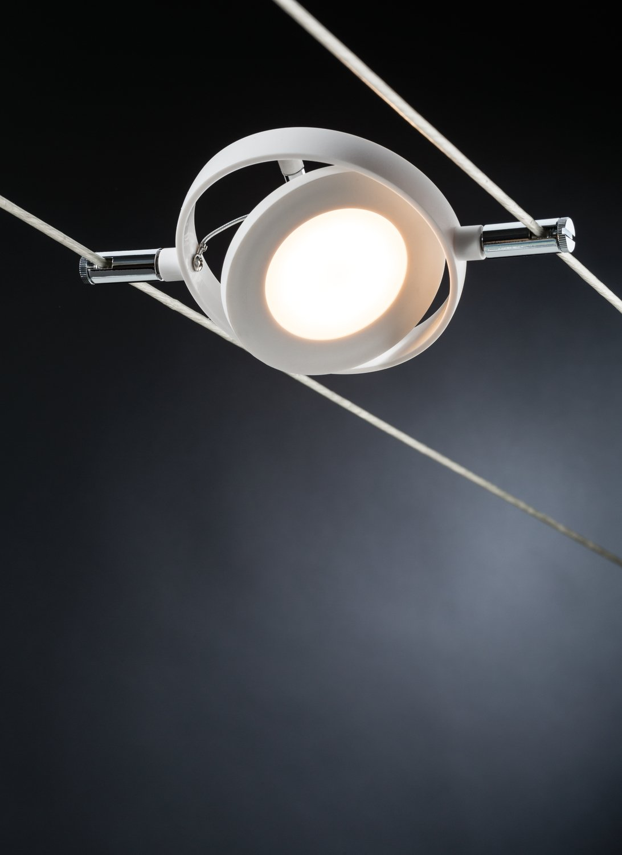 LED Seilsystem RoundMac Einzelspot 200lm 4W 2700K 12V Weiß matt