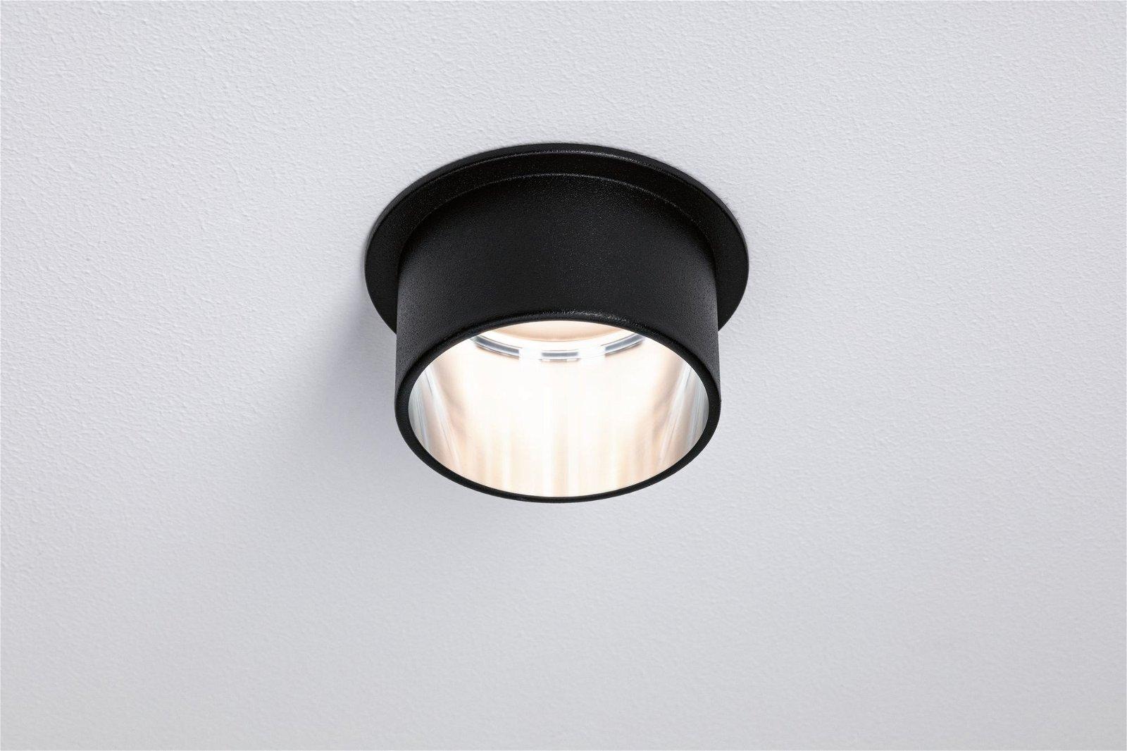 LED Einbauleuchte 3-Step-Dim Gil Coin Basisset IP44 rund 68mm Coin 3x6W 3x470lm 230V 2700K Schwarz matt/Eisen gebürstet