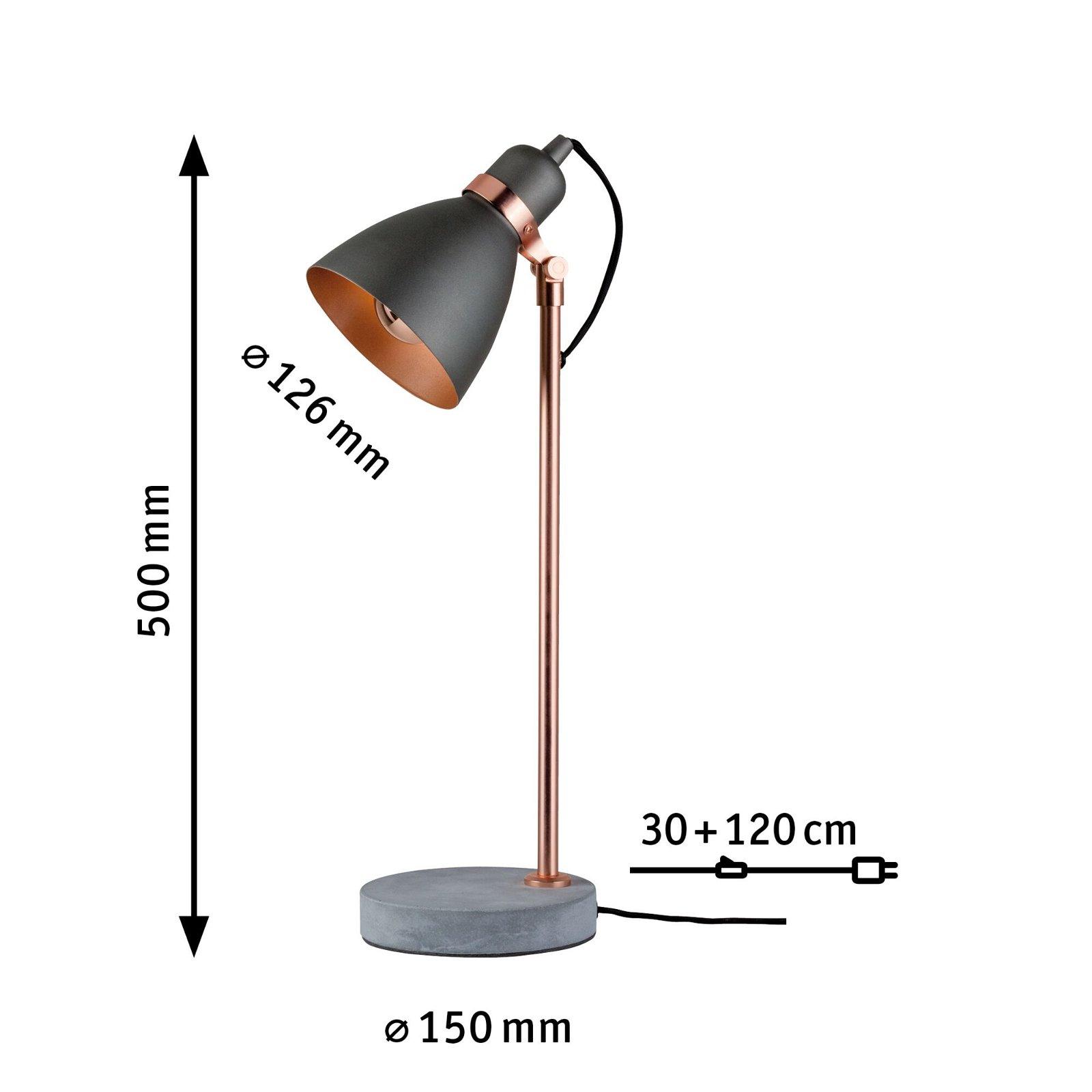 Neordic Tischleuchte Orm E27 max. 20W Grau/Kupfer matt Metall/Beton